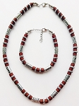 South Beach Men's Necklace Bracelet Beaded Two-tone Chrome Brown, Surfer Style Choker