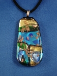 Summer Colors Large Stained Glass Pendant Necklace Blue Turquoise Beige, Vinyl Cord
