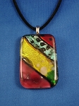 Summer Colors Large Stained Glass Pendant Necklace Red Yellow Green, Vinyl Cord