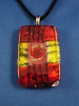 Summer Colors Large Stained Glass Pendant Necklace Red Yellow, Vinyl Cord