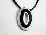 Summer Contemporary Necklace Oval Pendant, High Polish Chrome