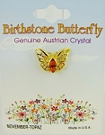 Topaz-November Birthstone Butterfly Pin Gold Tone, Genuine Austrian Crystal