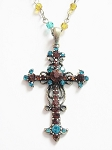 Topaz Turquoise Vintage Cross Pendant Necklace Filigree Style, Genuine Austrian Crystals