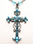 Turquoise Blue Vintage Cross Pendant Necklace Filigree Style, Genuine Austrian Crystals