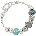 Vacation-Ready Pandora Inspired Turquoise Blue Bead Bracelet Murano Glass
