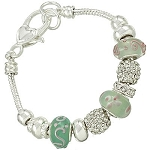 Vacation-Ready Pandora Inspired Turquoise Jade Bead Bracelet Murano Glass