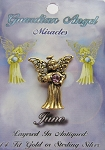Vintage Gold Alexandrite-June Birthstone Guardian Angel Pin, Genuine Austrian Crystal