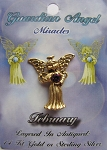Vintage Gold Amethyst-February Birthstone Guardian Angel Pin, Genuine Austrian Crystal