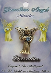 Vintage Gold Blue Zircon-December Birthstone Guardian Angel Pin, Genuine Austrian Crystal