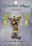 Vintage Gold Emerald-May Birthstone Guardian Angel Pin, Genuine Austrian Crystal