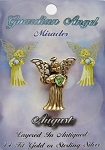 Vintage Gold Peridot-August Birthstone Guardian Angel Pin, Genuine Austrian Crystal
