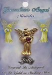 Vintage Gold Ruby-July Birthstone Guardian Angel Pin, Genuine Austrian Crystal
