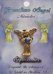 Vintage Gold Sapphire-September Birthstone Guardian Angel Pin, Genuine Austrian Crystal
