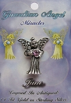 Vintage Silver Alexandrite-June Birthstone Guardian Angel Pin, Genuine Austrian Crystal
