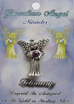 Vintage Silver Amethyst-February Birthstone Guardian Angel Pin, Genuine Austrian Crystal