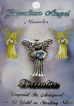 Vintage Silver Blue Zircon-December Birthstone Guardian Angel Pin, Genuine Austrian Crystal