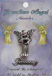 Vintage Silver Garnet-January Birthstone Guardian Angel Pin, Genuine Austrian Crystal