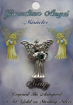 Vintage Silver Emerald-May Birthstone Guardian Angel Pin, Genuine Austrian Crystal