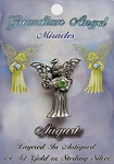 Vintage Silver Peridot-August Birthstone Guardian Angel Pin, Genuine Austrian Crystal