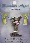 Vintage Silver Roze Zircon-October Birthstone Guardian Angel Pin, Genuine Austrian Crystal