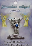 Vintage Silver Sapphire-September Birthstone Guardian Angel Pin, Genuine Austrian Crystal