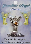 Vintage Silver Topaz-November Birthstone Guardian Angel Pin, Genuine Austrian Crystal
