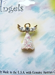 White Clear Diamond Guardian Angel Pin, Genuine Austrian Crystals, Gold Tone
