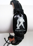 Zodiac Aquarius Beach Surfer Style Black Leather Bracelet Men`s Unisex Jewelry Adjustable