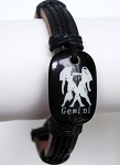 Zodiac Gemini Beach Surfer Style Black Leather Bracelet Men`s Unisex Jewelry Adjustable