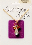 Topaz-November Birthstone Guardian Angel Pendant Necklace, Genuine Austrian Crystals