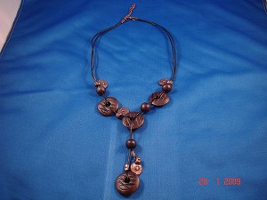 Brown Genuine Leather, Ceramic Beads & Cooper Charms Necklace, European Fashion Jewelry