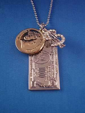 $100 Bill & Queen Elizabeth II One Gold Penny & Dollar Sign Pendant, Silver Tone Chain Necklace