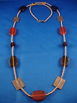 "36"" Necklace, Stained Glass & Bronze Beads, Anti-allergic Jewelry"