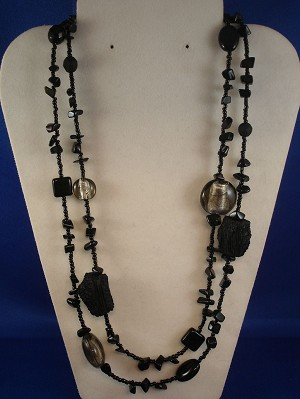 "42"" Black Necklace, Genuine Stones, Stained Glass, Beads, European Fashion Jewelry"