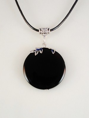 Absolute Black Genuine Stone Circle Pendant, Leather Cord Necklace, European Fashion