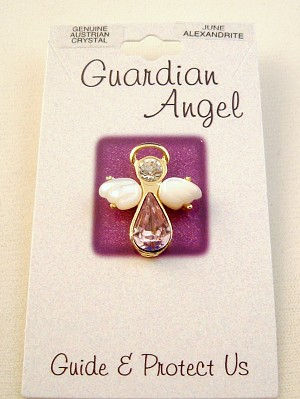 Alexandrite-June Birthstone Guardian Angel Pin, Genuine Austrian Crystals, Gold Finish Metal