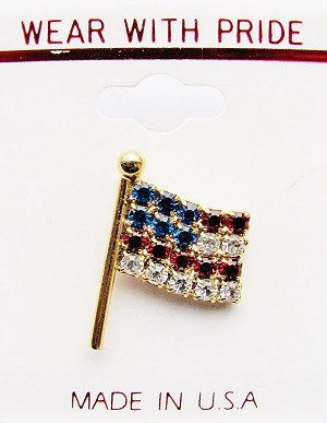 American Flag Pin, Genuine Crystals