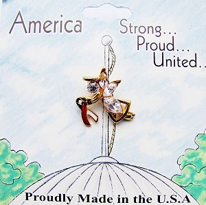 America's Guardian Angel Pin w/ American Flag Ribbon & Genuine Crystals