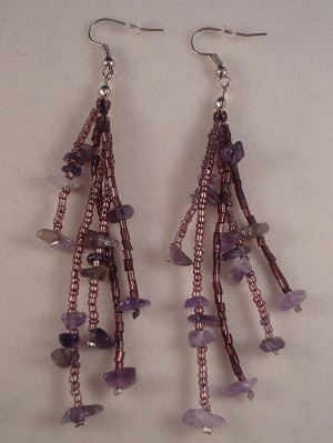 "Amethyst Beads & Genuine Stones 4"" Extra Long Contemporary Earrings"