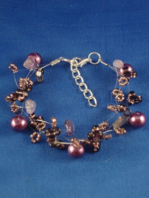Amethyst Contemporary Bracelet, Artificial Pearls, Genuine Stones, Beads