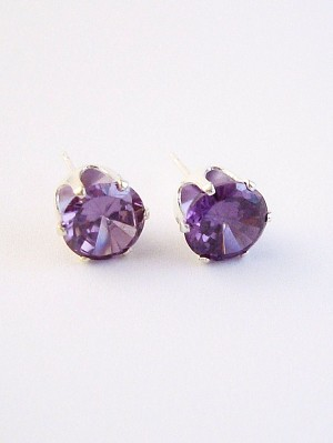 Amethyst Round Cut Silver Stud Earrings Genuine CZ Cubic Zirconia