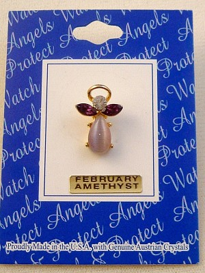 Amethyst-February Birthstone Angel Pin, Genuine Austrian Crystals, Gold Finish Metal