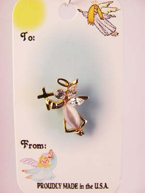 Angel with Cross Pin, Genuine Austrian Crystals
