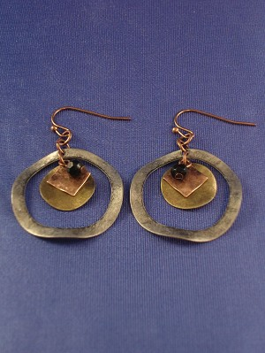 Antique Bent Style  Dangling Earrings, Bronze, Copper & Silver Tone Circle w/ Charms Anti-allergic Jewelry