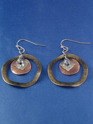 Antique Bent Style Dangling Earrings, Silver, Copper & Bronze Tone Circle w/Charms Anti-allergic Jewelry