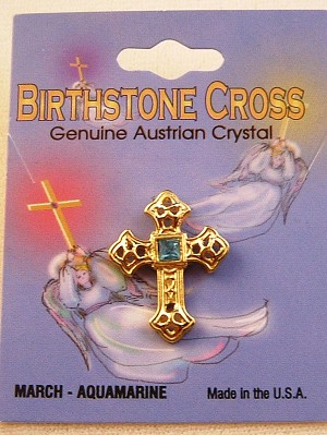 Aquamarine-March Birthstone Cross Pin, Genuine Austrian Crystal, Gold Finish Metal