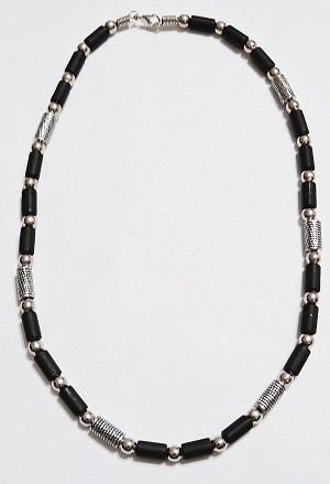 Beach Party Beaded Men's Necklace, Chrome Black Surfer Jewelry