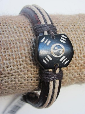 Balance Men`s Tribal Bracelet Black Mystic Symbol Thick Genuine Leather Beach Surfer Style