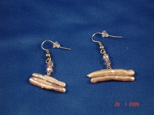 Beige Genuine Mother-of-Pearl Contemporary Earrings
