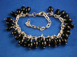 Black Berry Charms, Silver Tone Metal Bracelet, Anti-allergic Jewelry